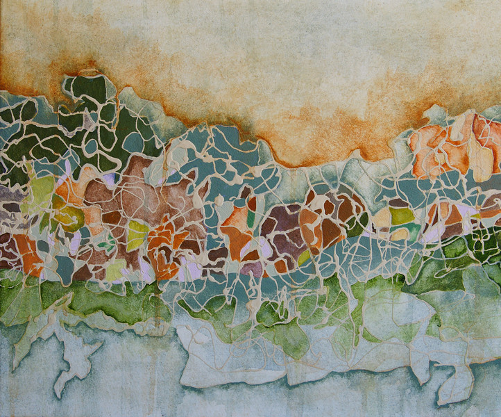 """""""Moving Horizon 1""""<br /> acrylic & mixed media on canvas<br /> 20"""" x 24""""<br /> SOLD"""