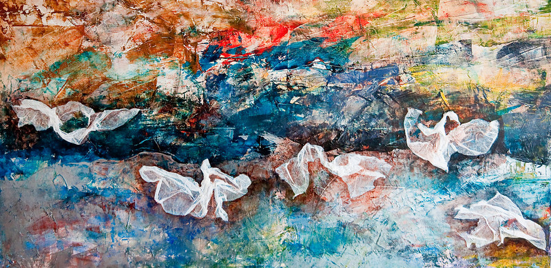 """Birds of a Feather""<br /> acrylic, tissue paper, & mixed media on canvas<br /> 24"" x 48"""