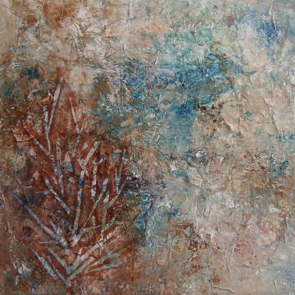 """Coral Fern, Red""<br /> acrylic & mixed media on canvas<br /> 24"" x 24"""