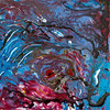 """""""Eye of the Storm""""<br /> acrylic, ink, & pouring medium on canvas<br /> 12"""" x 12"""""""