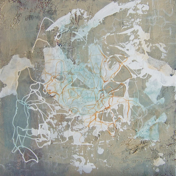 """Traces of White""<br /> acrylic & mixed media on canvas<br /> 12"" x 12"""
