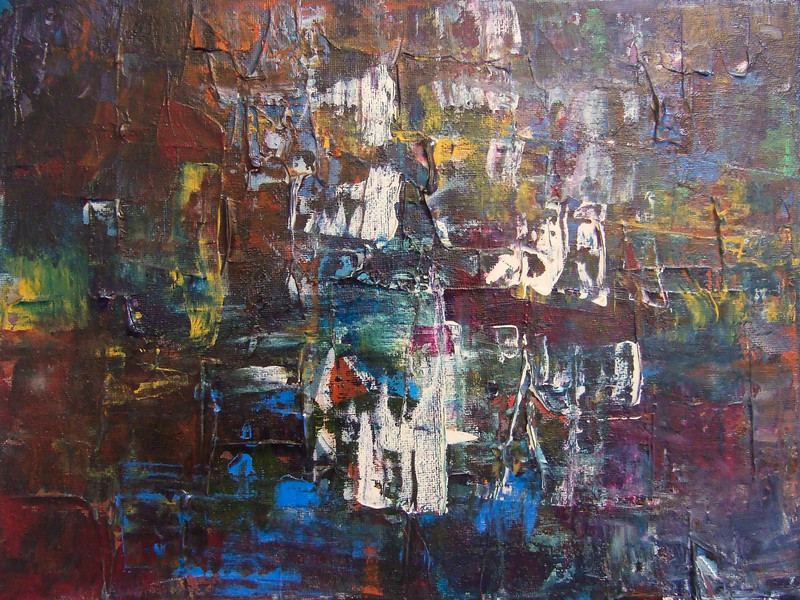 """Surfacing, Winter""<br /> acrylic on canvas<br /> 9"" x 12"""