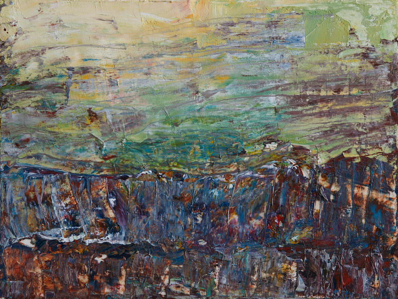 """Morning Fields""<br /> acrylic & mixed media on canvas<br /> 9"" x 12""<br /> SOLD"