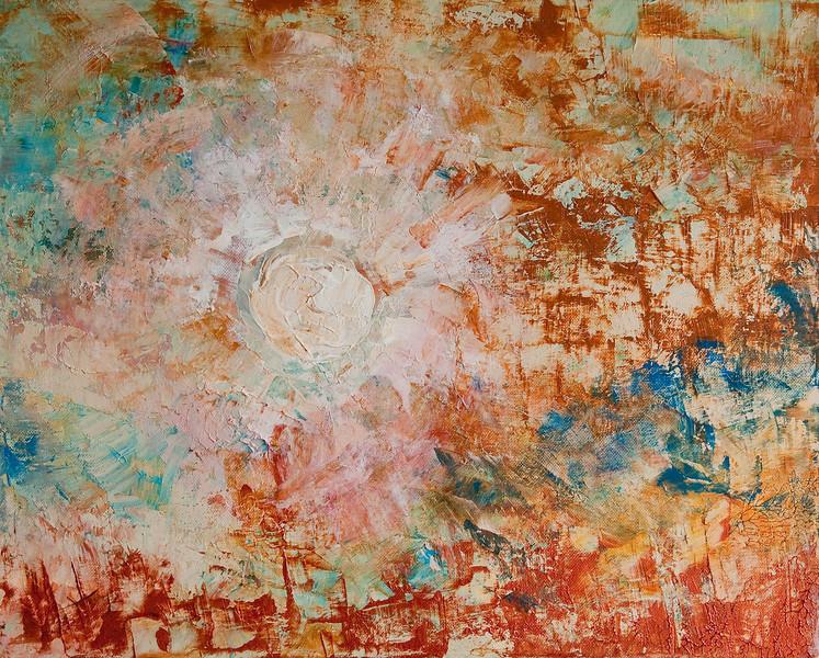 """""""Sunrise""""<br /> acrylic & mixed media on canvas<br /> 16"""" x 20"""""""