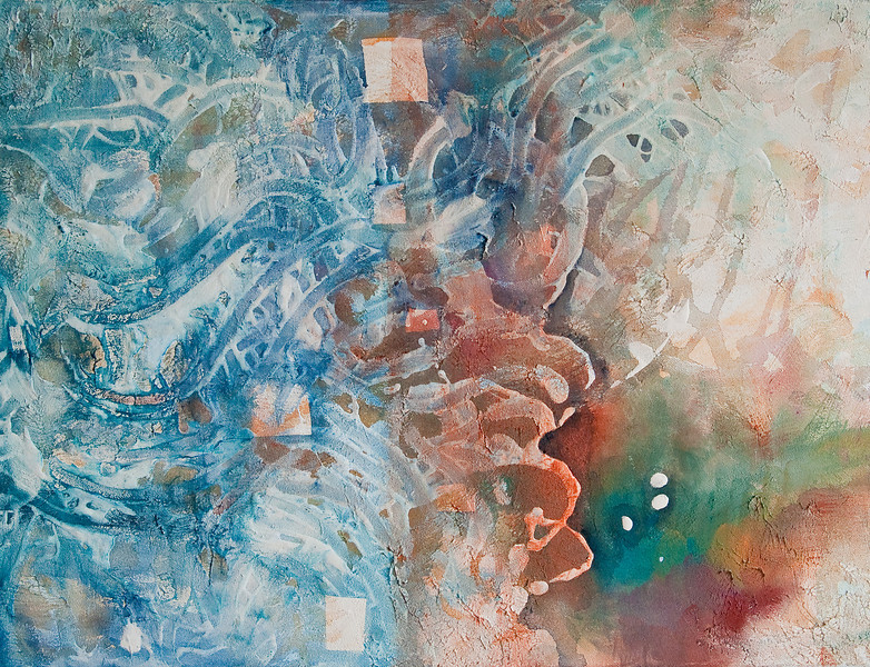 """""""Dreaming of Hokusai""""<br /> acrylic & mixed media on canvas<br /> 18"""" x 24"""""""