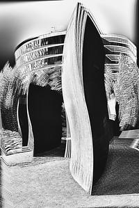 Photo manipulation of a single image of Richard Serra's metal sculpture, Wake, 2004, Seattle, Washington.