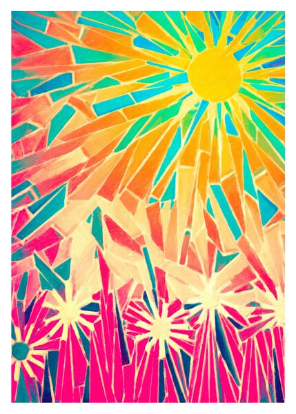 Tile artwork image captured in Portland, Oregon. Photo manipulation of surface appearance and colors.