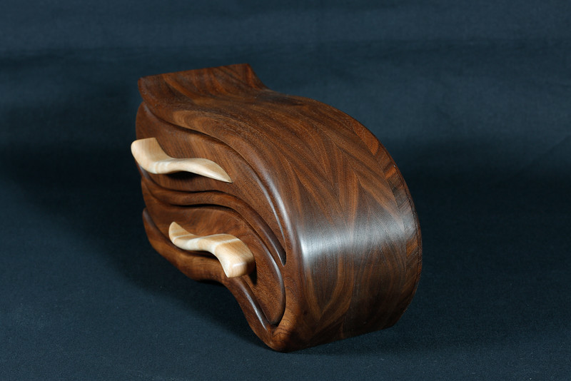 Black Walnut with Curly Maple drawer pulls