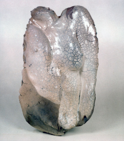Untitled 903 (breast mold), 1990.  19 x 12 x 3.5 in.  Low-fire salt, glazed with slips.
