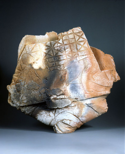 Untitled, 85-1, 1985.  27 x 29.5 x 8 in.  Low-fire salt, unglazed, wheel thrown and altered.
