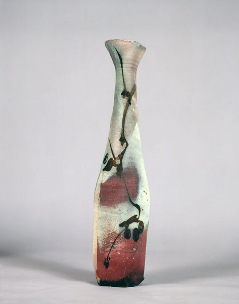 Vase 9439, 1994.  20 x 4.5 in.  Low-fire salt with slips, stains or oxides, and calligraphy.  Wheel thrown.