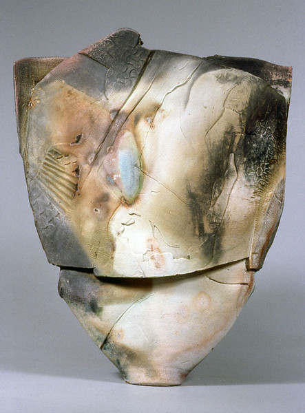 Vessel, 86-19, 1986.  24 x 20.5 x 5 in.  Low-fire salt, unglazed, with slips, wheel thrown and altered.