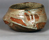 Bowl 9554, 1995.  3.75 x 6 x 6 in.  Low-fire, smoked, with glaze and slips.  Wheel thrown and altered.