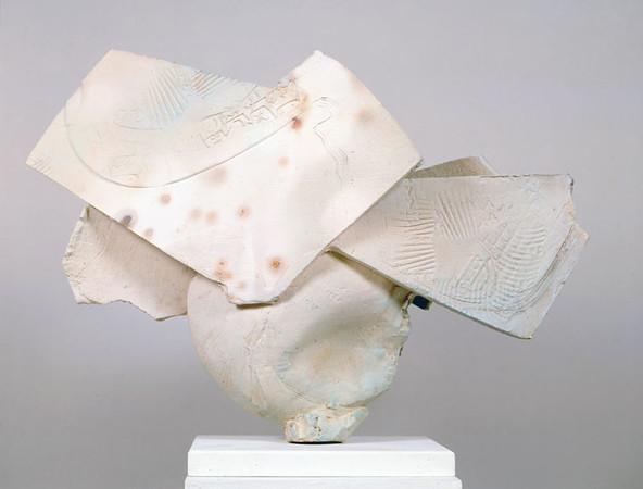 Pedestal Piece 989, 1989.  26.5 x 38 x 11 in.  Low-fire salt, unglazed, white slips, wheel thrown and altered.