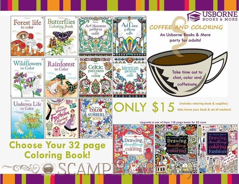 I will bring some of my books and do a short presentation about Usborne Books & More and will help your guests with their book orders and give away some door prizes.<br /> Enjoy coloring with your friends!