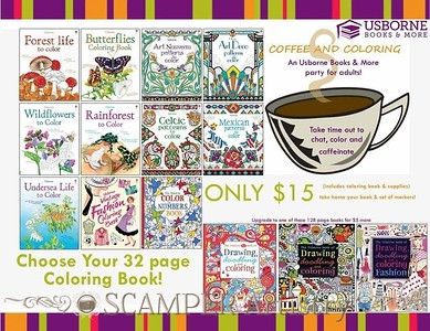 I will bring some of my books and do a short presentation about Usborne Books & More and will help your guests with their book orders and give away some door prizes. Enjoy coloring with your friends!