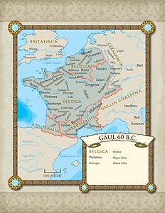 "Map Page from ""The Conquest of Gaul"""