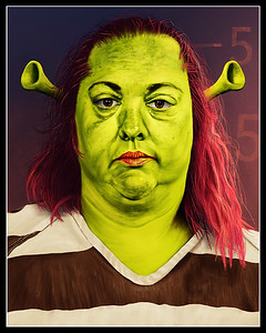 While I was playing around with skin colors my daughter saw the WIP and was reminded of Shrek, so I went with it.