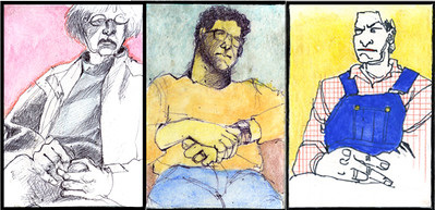 3 friends (atc's, separate pieces to be framed together)