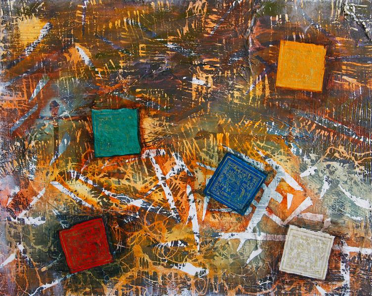 """Windows into Tibet""<br /> acrylic, Tibetan prayer flags, and mixed media on canvas<br /> 16"" x 20"""