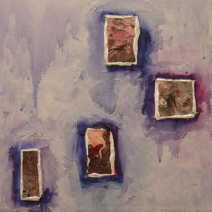 """Earth Windows 1"" acrylic & mixed media on canvas 16"" x 16"""