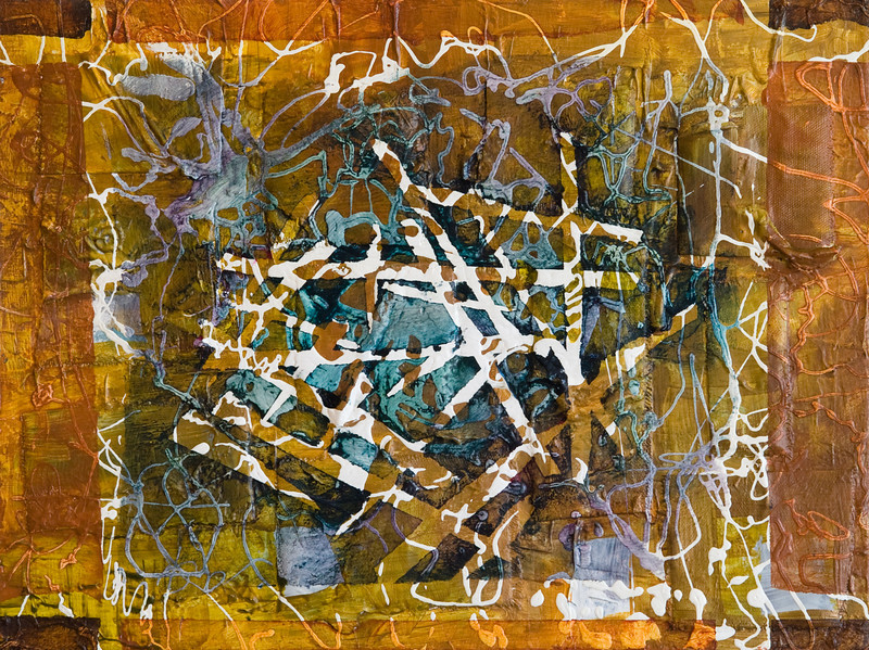 """Matrix 1""<br /> acrylic & mixed media on wood<br /> 12"" x 16""<br /> SOLD"