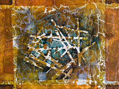 """Matrix 1"" acrylic & mixed media on wood 12"" x 16"" SOLD"