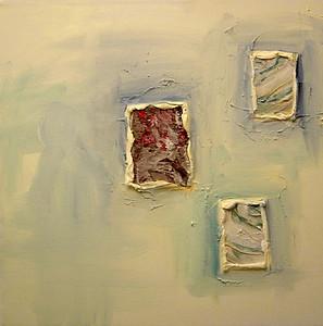 """Earth Windows 3"" acrylic & mixed media on canvas 16"" x 16"""