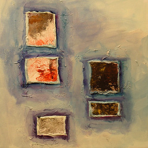 """Earth Windows 4"" acrylic & mixed media on canvas 16"" x 16"""