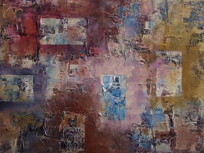 """Floating Windows"" acrylic & mixed media on canvas 12"" x 16"""