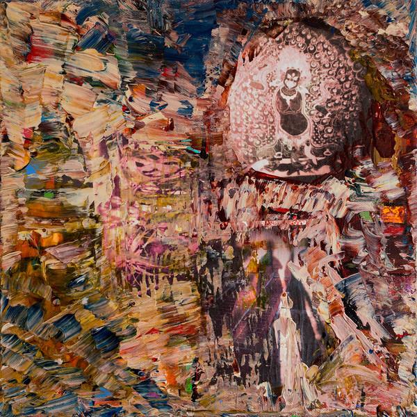 """""""Kali Dance""""<br /> acrylic, photographs, & texture medium on canvas<br /> 12"""" x 12"""""""