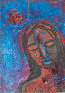 """Woman in Blue"" acrylic and mixed media on canvas 5"" x 7"""