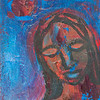 """Woman in Blue""<br /> acrylic and mixed media on canvas<br /> 5"" x 7"""