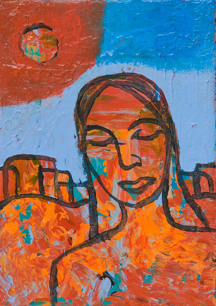 """""""Woman in Orange""""<br /> acrylic and mixed media on canvas<br /> 5"""" x 7"""""""