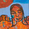 """Woman in Orange""<br /> acrylic and mixed media on canvas<br /> 5"" x 7"""