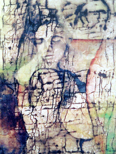 """Fading Woman""<br /> acrylic, ink, and texture paper on canvas"
