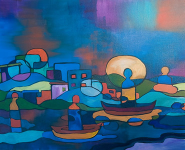 "SOLD ""Ships Passing"" acrylic on canvas"