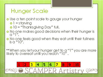 "Get To Know The Hunger Scale<br /> <br /> By Tracy Olgeaty Gensler, M.S., R.D., Best Life nutritionist<br /> <br /> Sometimes it feels automatic: You arrive home, head straight for the kitchen, and dive into a box of crackers or cookies or carton of ice cream. The worst part: Chances are you're not even hungry. Eating just to eat is no doubt one of the biggest pitfalls to losing weight and keeping it off. But if you can differentiate between real and imaginary hunger, you can avoid overeating. How do you do this? Use the Best Life Hunger Scale. The 10-point scale helps you gauge your hunger so you can accurately determine whether it's genuine or not.<br /> <br /> Here's how it works: For a few days, jot down your hunger level before and after each meal and snack. This ""hunger diary"" provides vital clues to your eating habits. Ideally, you should begin to eat at level 3 or 4, and stop eating when you reach level 5 (if you're trying to lose weight) or 6 (if you're looking to maintain your weight). If you begin at a 1 or 2, you'll be so hungry that you're prone to overeating. And if you go into a meal in the 5- to 10-range, you're likely eating due to boredom, stress, or for some other emotional reason.<br /> <br /> Here's a breakdown of the Hunger Scale, what each level means, and how to use it during various meal situations to prevent overeating.<br /> <br /> The Hunger Scale<br /> 10 – Stuffed: You are so full, you feel nauseous.<br /> 9 – Very uncomfortably full: You need to loosen your clothes.<br /> 8 – Uncomfortably full: You feel bloated.<br /> 7 – Full: You feel a little bit uncomfortable.<br /> 6 – Perfectly comfortable: You feel satisfied.<br /> 5 – Comfortable: You're more or less satisfied, but could eat a little more.<br /> 4 – Slightly uncomfortable: You're just beginning to feel signs of hunger.<br /> 3 – Uncomfortable: Your stomach is rumbling.<br /> 2 – Very uncomfortable: You feel irritable and unable to concentrate.<br /> 1 – Weak and light-headed: Your stomach acid is churning.<br /> <br /> SAMPLE SITUATIONS<br /> Breakfast<br /> Your Hunger Level: 5 or 6<br /> What To Do: You may not wake up hungry, but you should start to feel hunger pangs within an hour of waking. If you don't, just continue to adhere to the two-hour eating cut-off in the evening. Eventually, you will wake up hungry in the a.m. Remember, this is the only time you should eat even if you're not hungry. Ideally, you should have a healthy bite within an hour of getting up. Skipping breakfast is strongly connected to overeating later in the day and making poor food choices throughout the day.<br /> <br /> Before lunch, dinner or snack<br /> Your Hunger Level: 3 or 4<br /> What To Do: This is the right level for starting a meal or snack. Now, just make sure to stop before you get too full.<br /> <br /> You've cleaned your plate<br /> Your Hunger Level: 5<br /> What To Do: You're no longer hungry, but it would still be easy to have another serving. Resist—that way you know you're just slightly undereating, something you have to do in order to drop weight. If, however, you're looking to maintain your weight, you can eat until you're just slightly more full, about a 6 on the hunger scale.<br /> <br /> It's time for a snack, but I'm not hungry.<br /> Your Hunger Level: 5 or higher<br /> What To Do: Skip your snack. Remember, you should wait until you're a 3 or 4 before you eat.<br /> <br /> I'm finished eating, but I'm still hungry.<br /> Your Hunger Level: 3 or 4<br /> What To Do: Wait 20 minutes. Go for a walk or distract yourself with conversation, then see how hungry you are. If you're still hungry, have another small helping from the meal or a little more of your snack.<br /> <br /> I'm famished.<br /> Your Hunger Level: 1 or 2<br /> What To Do: Try not to get to this point. Learn to acknowledge your hunger, eat when you're hungry and stop eating at a 5 or a 6."