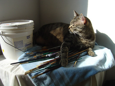 Louie, one of two studio assistants...he's the paintbrush guard:)