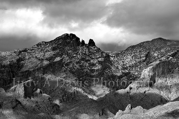 Snow dusts the Santa Catalina Mountains, Tucson, Arizona. Judy A Davis Photography
