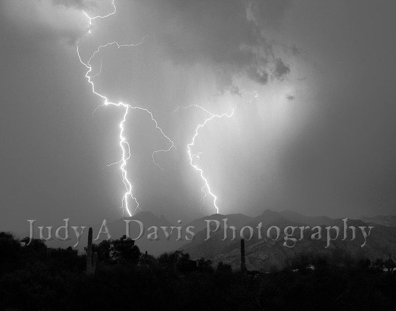 Monsoon Season. Lightening over the Santa Catalinas. Judy A Davis Photography
