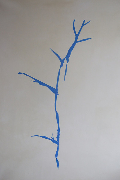 beginning to create the tree using painter's tape