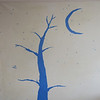 tree, moon, and stars in painter's tape