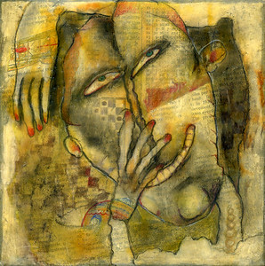 "Crazy Old Carl Mixed media, 7"" x 7"", 2009 $150 (all four for $400)"