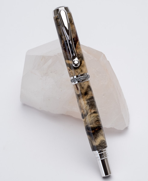 Buckeye Burl, Rhodium and Black Titanium