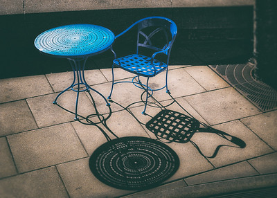 Blue Table & Chair