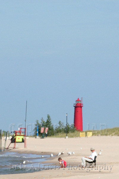 Pier Marquette Lighthouse, Lake Michigan, Muskegon, Michigan