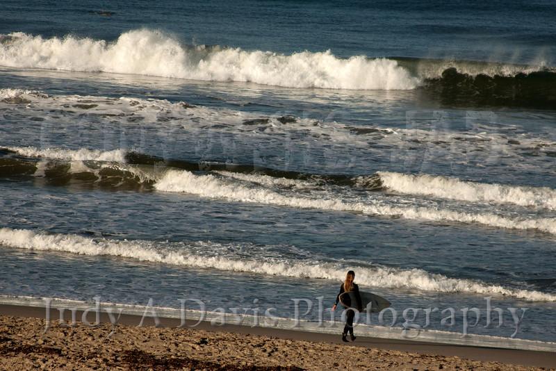 Surfer at Mission Beach, San Diego, California