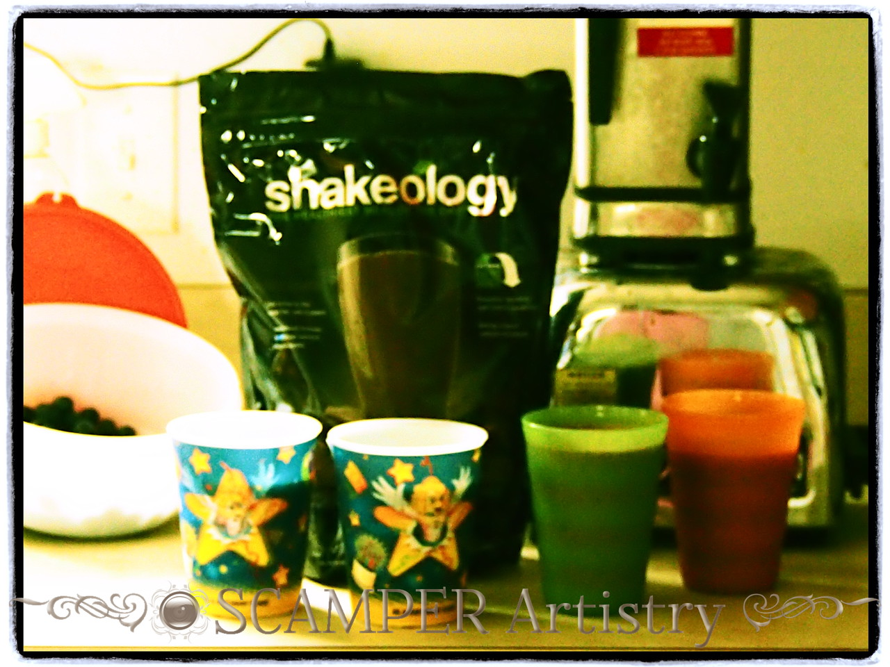 Fresh blueberries in our Chocolate Shakeology today.  The kids loved it!