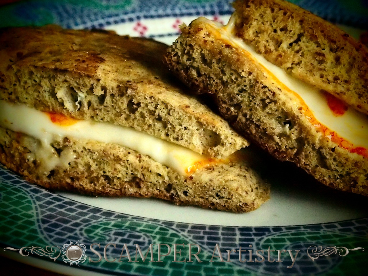 """Grilled muenster cheese made with 2 minute flax """"bread""""."""